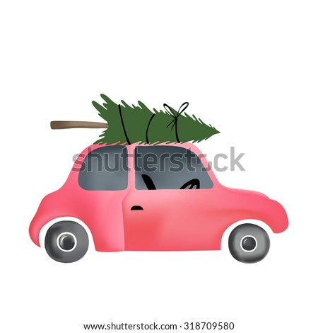 Cartoon vector illustration of small red vintage car and christmas tree on top.