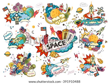 Cartoon vector illustration of space. Classification, milky way. Hand drawn. Abstract - stock vector