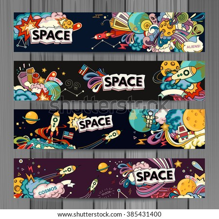 Cartoon vector illustration of space. Moon, planet, rocket, earth, cosmonaut, comet, universe. Classification, milky way. Hand drawn. Abstract - stock vector