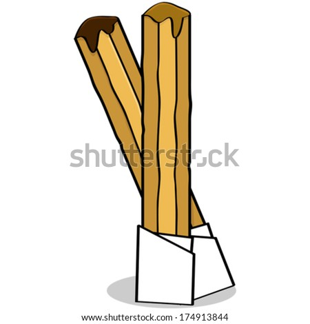 Cartoon vector illustration of the traditional Spanish pastry called churros - stock vector