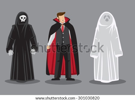 Cartoon vector illustration of three fantasy horror characters, death, dracula and white ghost isolated on grey background. - stock vector