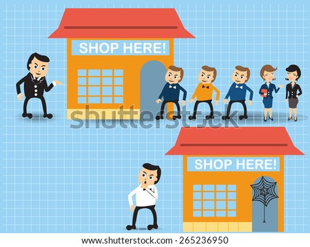 Cartoon vector illustration of two near shop stores, the first one is much more successful than the second one. - stock vector