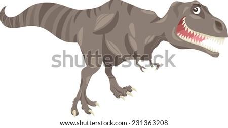 Cartoon Vector Illustration of Tyrannosaurus Dinosaur Prehistoric Reptile Species - stock vector