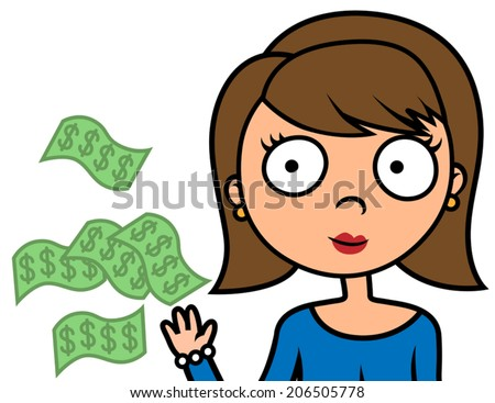 Cartoon vector illustration of woman spending or wasting money - stock vector