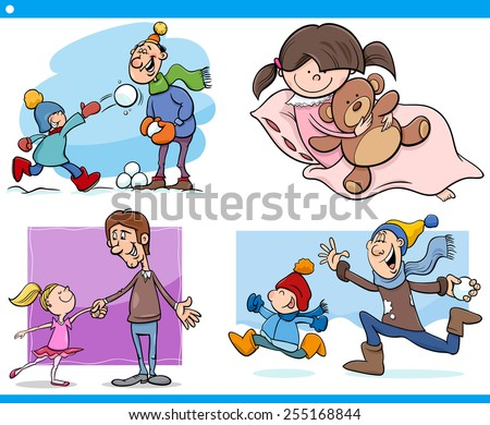 Cartoon Vector Illustration Set of Fathers with Children - stock vector