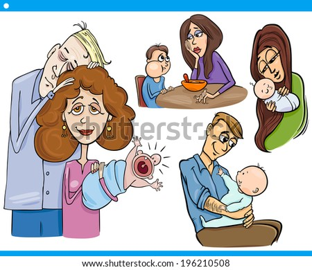 Cartoon Vector Illustration Set of Parents with Children and Babies - stock vector