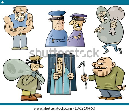 Cartoon Vector Illustration Set of Thieves and Ruffians or Thugs Bad Guys Characters - stock vector