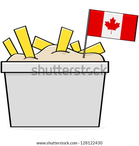 Cartoon vector illustration showing a bowl of the traditional Canadian food called poutine, made of cheese, fries and gravy - stock vector