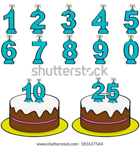 Cartoon vector illustration showing a cake and candles from 0 to 9 to form different numbers - stock vector
