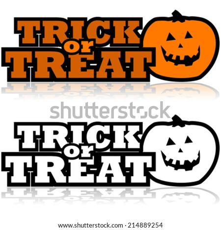 Cartoon vector illustration showing a carved pumpkin beside the words 'Trick or treat' - stock vector