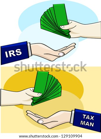 Cartoon vector illustration showing a person handing over money to the IRS or the tax man
