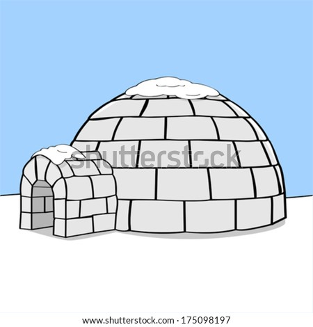 Cartoon vector illustration showing an igloo in the middle of nowhere with some snow on top of it