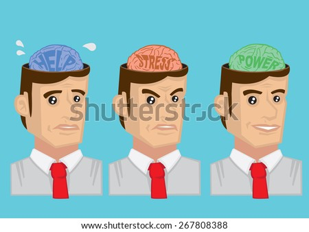Cartoon vector illustration showing mental states and emotions of adult man. Concept for mental health. - stock vector
