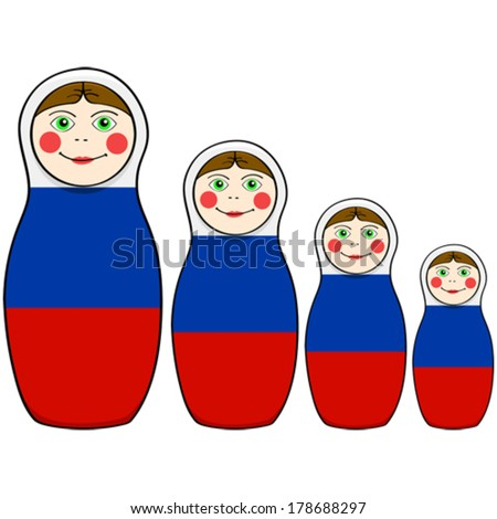 Cartoon vector illustration showing russian dolls in different sizes painted with the colors of the Russian flag