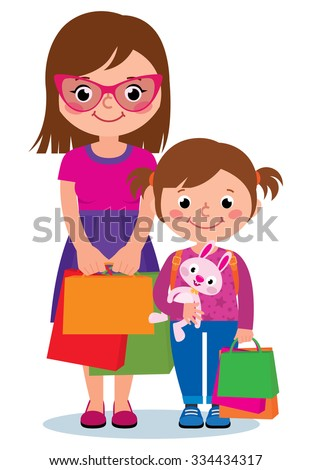Cartoon vector illustration Two women mother and daughter holding shopping bags isolated on white background