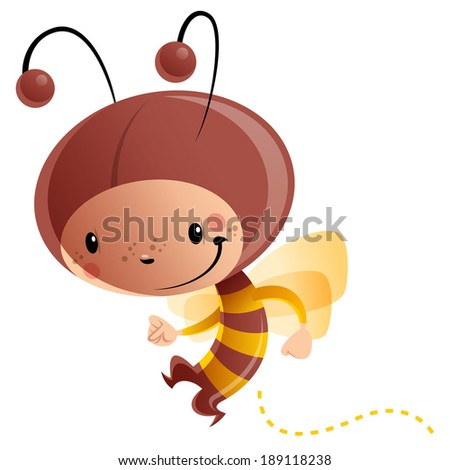 Cartoon vector illustration with cheerful smiling child in funny yellow and brown butterfly suit with antennas and wings - stock vector