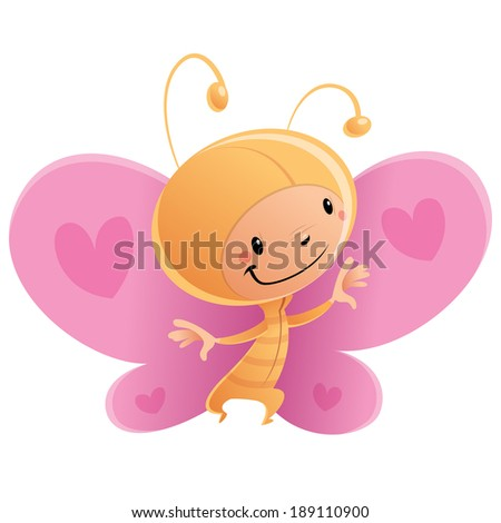 Cartoon vector illustration with happy smiling child in funny pink and orange butterfly suit with antennas and hearts in the wings - stock vector