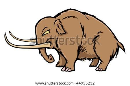 cartoon vector illustration woolly mammoth - stock vector