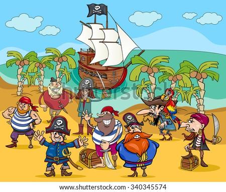 Cartoon Vector Illustrations of Fantasy Pirate Characters on Treasure Island - stock vector