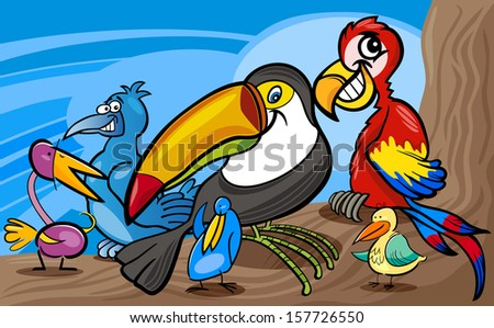 Cartoon Vector Illustrations of Funny Exotic Birds Mascot Characters Group for Children - stock vector