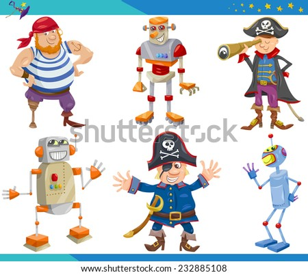 Cartoon Vector Illustrations Set of Fairytale or Fantasy Characters