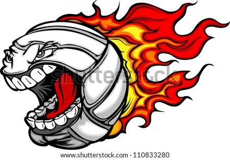 Cartoon Vector Image of a Flaming Volleyball Ball with Angry Face - stock vector