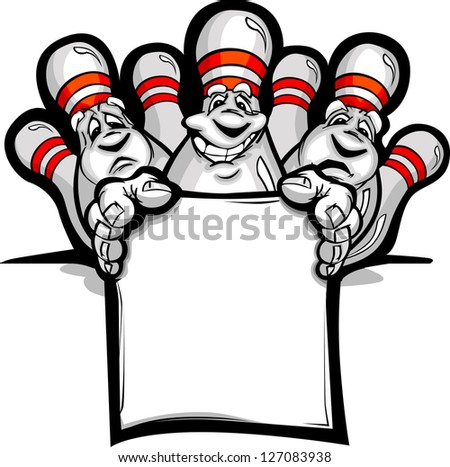 Cartoon Vector Image of a Happy Bowling Pins Holding a Sign - stock vector