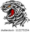Cartoon Vector Image of a Scary Screaming Halloween Monster Mummy Head - stock vector