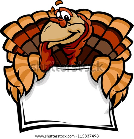 Cartoon Vector Image of a Thanksgiving Holiday Turkey Holding a Sign - stock vector