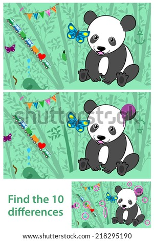 Cartoon vector kids Puzzle - spot the 10 differences in the two Pandas - with a cute little cartoon panda sitting in bamboo with butterflies, bunting and a toy train, with the solution below - stock vector