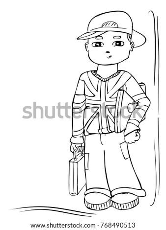 Cartoon Vector London Boy Student Poster Stock Vector 768490513 ...