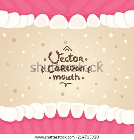 Cartoon vector mouth inside illustration with teeth. Dental hygiene background - stock vector