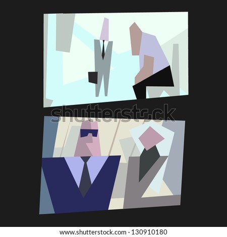 cartoon vector office life - stock vector