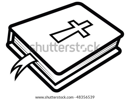 cartoon vector outline illustration Bible - stock vector