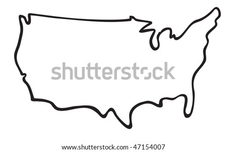 Black Outline Usa Map Stock Vector Shutterstock - Usa map outline clipart