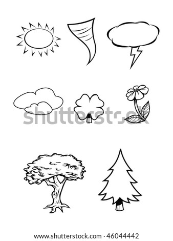 cartoon vector outline illustration nature weather collection