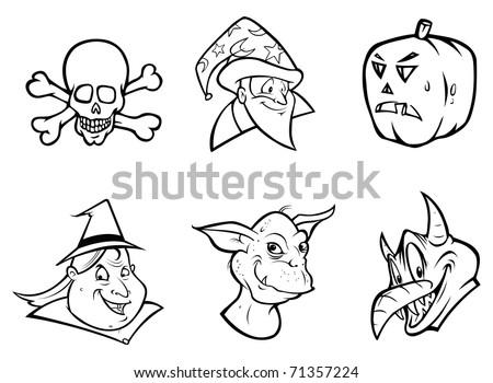 cartoon vector outline illustration of a Halloween collection - stock vector