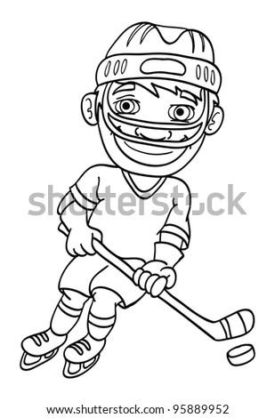 cartoon vector outline illustration of an ice hockey player - stock vector