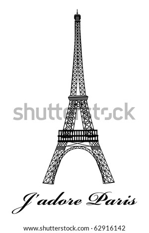 cartoon vector outline illustration of eiffel tower paris