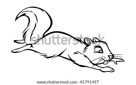 Cartoon Vector Outline Illustration Squirrel Jumping Stock Vector