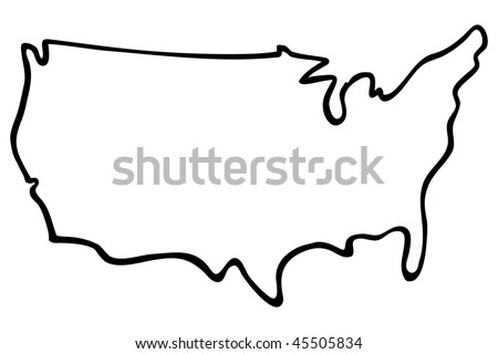 cartoon vector outline illustration United States map - stock vector