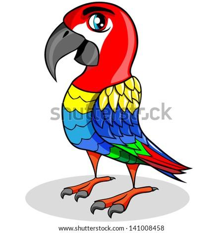 Cartoon vector parrot. - stock vector