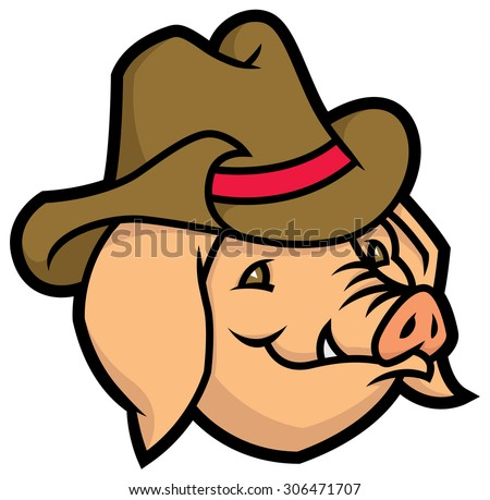 cartoon vector pig with cowboy hat