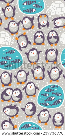 Cartoon vector seamless pattern with funny penguins. Cute background - stock vector