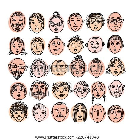 Cartoon vector set. People faces.