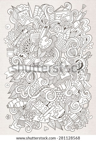 Cartoon vector sketchy doodles hand drawn art and craft background - stock vector