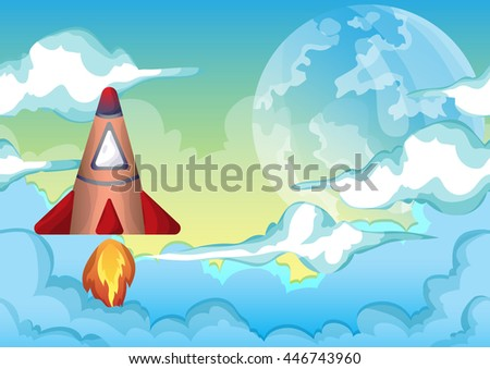 Cartoon vector space sky with separated layers for game and animation, game design asset - stock vector