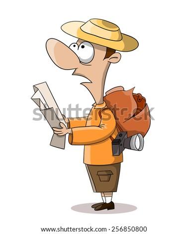 Cartoon vector watching tourist with map - stock vector