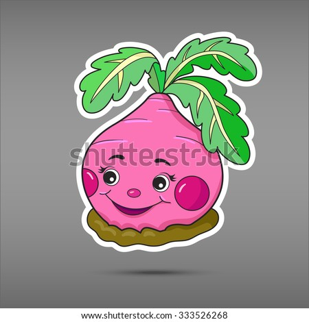 Cartoon vegetable isolated on grey background. Sticker radish. Comic character russian tale. Funny smile vegetable in paper cut style. Applique Background  - stock vector