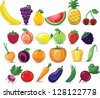 Cartoon vegetables and fruits - stock photo
